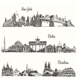 Set cities New york Berlin Barcelona sketch vector image vector image