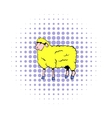 sheep icon in comics style vector image