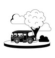 silhouette school bus in the city with clouds and vector image vector image
