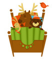 sleeping woodland animals covered with blanket vector image vector image