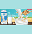 soy milk box mock up ads with splash vector image vector image