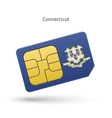 state connecticut phone sim card with flag vector image vector image