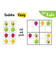 sudoku kids game cut and paste the pictures cute vector image