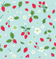 summer seamless pattern with blooms strawberry vector image vector image