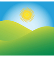 Sun Rising Over Green Hills vector image vector image
