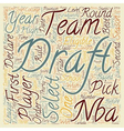 The NBA Draft text background wordcloud concept vector image vector image