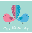 Two birds with heart tails Happy Valentines Day vector image vector image