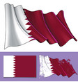 waving flag of qatar vector image vector image