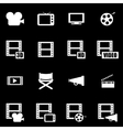 white movie icon set vector image