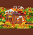 wooden house on fire vector image