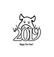 year of the earth pig 2019 on the chinese calendar vector image vector image
