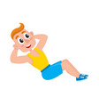 young man doing sit ups sport exercises training vector image vector image