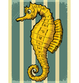 vintage grunge background with sea horse vector image