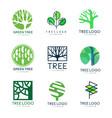 green tree logo original design set of vector image