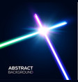 abstract background two crossed neon swords fight vector image vector image
