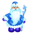 animated santa claus in blue christmas costume vector image
