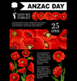 anzac day lest we forget poppy poster vector image vector image