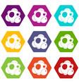 atom icon set color hexahedron vector image vector image