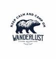 bear with mountain camping logo vector image vector image