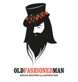 bearded man wearing a top hat decorated vector image vector image