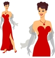 Beautiful pin up girl 1950s style vector image vector image