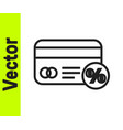 black line discount card with percent icon vector image vector image