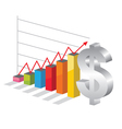 Bussiness graph with silver Dollar sign vector image vector image