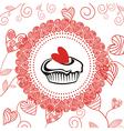 Cake romantic pattern background vector image