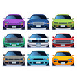 car front view set urban traffic vehicle model vector image