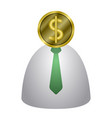 coin head businessman icon vector image