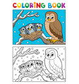 coloring book owl theme 1 vector image vector image
