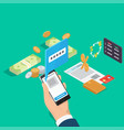 control banking operations online isometric vector image vector image