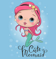 cute mermaid on a blue background vector image vector image