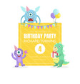 cute monsters with a gift and a flag vector image