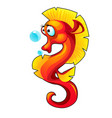 cute red seahorse isolated on white background vector image
