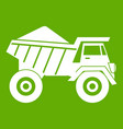 dump truck with sand icon green vector image vector image