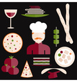 flat design italian cuisine elements and chef vector image