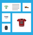 flat icon garment set of stylish apparel t-shirt vector image vector image
