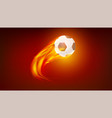 flying up burning classical football ball icon of vector image