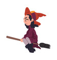 girl witch flying with broomstick cute halloween vector image vector image