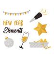 happy new year decoration star confetti gift box vector image vector image
