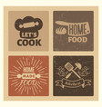 homemade food and bakery vintage grunge badge set vector image