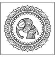 little elephant in frame mandala hand-drawn cute vector image
