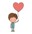 man holding heart shaped balloon vector image vector image