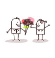 man offering flowers to a woman vector image