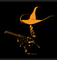 man with cowboy hat and with a revolver vector image vector image
