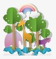 paper art animal vector image vector image