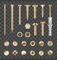 realistic golden fasteners transparent set vector image vector image