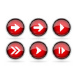 red next buttons with chrome frame round glass vector image vector image