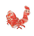red rooster isolate vector image